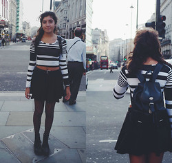 Leah R - Chiarafashion.Co.Uk Top, Asos Skirt, Docs, Vintage Bag - London.