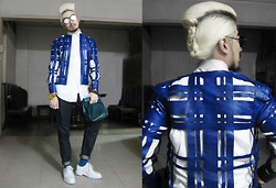 Andre Judd - Daryl Maat Lasercut Leather Jacket, Jil Sander Roll Leather Bag - BLUE CAGE