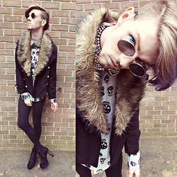 Elliott Alexzander - Fur Pea Coat, Diy Spiked Collar, Romwe Skull Print Shirt, H&M Sweater Leggings, Jeffrey Campbell Booties, Romwe Round Rim Sunnies - Behind Blue Eyes