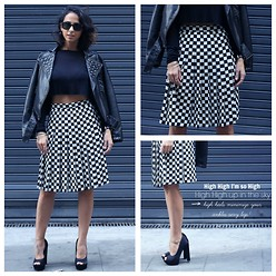 Milagros Plaza - Asos Black Studded Jacket, Asos Black Crop Top - B&W