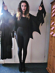 Jess A - American Apparel Disco Pants, H&M Black Top, Topshop Heeled Wedges, Diy Bat Wings - Bat Costume