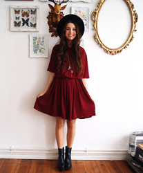 Diana K - Frontrowshop Dress, Choies Boots - Oxblood