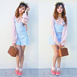 Princess T - Forever 21 Boy Ish Line Jumper, Forever 21 Pastel Peter Pan Blouse, Chic Wish Let's Go Picnic Retro Suitcase, Lace Me Up Wedge - Take me to the trellis