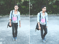Kenny Jay - Forever 21 Tank, H&M Jean Shirt, Gap Charcoal Jeans, Zara Denim Shoes, Zara Satchel - LA Love's Me