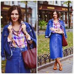 Elena Gilka - Unknown Brand Jacket, Vancl Thirt, Lee Skirt, Nowistyle Bag, Babydoll Shop Necklace, Frontrowshop Danielwellington (25% Discount Code Lengilochka), Vancll Shoes - Vintage denim autumn version!