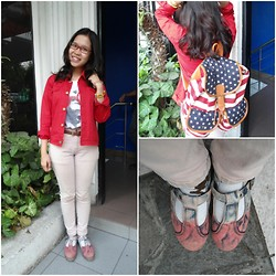 Syuri Khodijah Nurjanah - Online Shop Usa Backpack, Online Shop Red Denim Jacket, Flame On Footmate Strawberry Series Shoes, Six Pax Dog Face Printed Shirt - Goin' To Campus #nomakeup