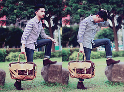 Evelio Barion - Dude Stripe Floral Shirt, Penshoppe Pants, Salvatore Bag - On the go