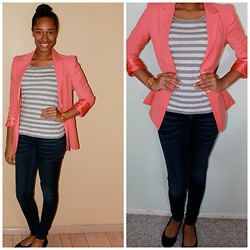Chansie P - Marc By Jacobs 'Henry' Ombre Dial Watch, Forever 21 Salmon Boyfriend Blazer - Formal Casual