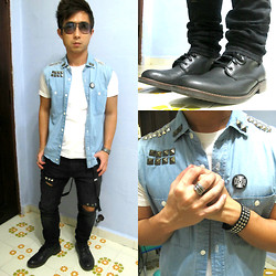 Aaron Tan - H&M Diy Vest With Diy Studs, Fourskin White Basic Tee, H&M Diy Jeans, Topman Black Boots With Brown Sole, Revolt Millitia Black Pin, Chainloop Taiwan Feather Ring, Fourskin Studded Bracelet - DIY for rock & roll party