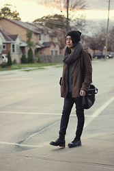 Mark Patrielle Bueno - Wasted Youth Beanie, Adrian Wu Wool Scarf, Zara Jacket, Zara Pants, Dr. Martens Boots, Prada Bag - Lonesome Dreams