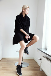 Miu N - Rodebjer Sweater, Nowhere Skirt, Nike Sneakers, Yves Saint Laurent Ring - Black Is Such A Happy Color