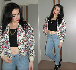 Ria-Louise Brown - Topshop Crop Top, Topshop High Waist Pants, Missguided Mock Croc Boots, H&M Gold Chain, A Cat Called Esteban Vintage Floral Bomber Jacket - Flowers in the Attic