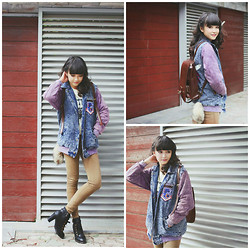 Xu Sophie - Denim Jacket, Heel Lace Up Boots, Bag - Different kind of buzz