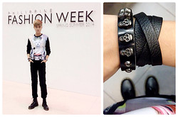 CYB ★ Elizalde - Juun.J Sweater, Hublot Big Bang, Top And Bottom Shop Skull Leather Bracelet, Dr. Martens Black Boots - F▲S H I O N   W E E K + SS2014