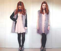Hannah Louise - Topshop Leather Jacket, Brushed Silk Skater Dress, Faux Fur Gilet, Topshop Silver Boots - Faux Furry