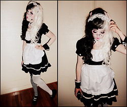 Joosje S - Maid Dress, Black And White Wig, Lace Headband, Pastel Pink Bows, Different Stockings, Asos Platform Lolita Shoes - Broken Doll