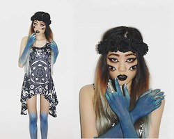 Kicki Yang Zhang - Primark Flower Crown, Killstar Clothing Racer Dress, Luckydiamond Rings - Daughter of Hungry Ghosts