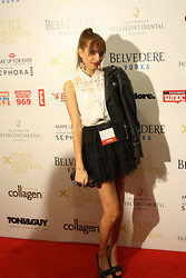 S C Stavrouλιτσα MP - Tally Weijl Blouza, Mango Leather Jacket, Lace Layers Skirt - 14th Athens Xclusive designers week- DAY 2