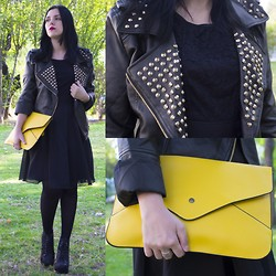 Emel Acar - Sheinside Jacket, Banggood Lace Dress, Sheinside Bag, Litas - All Black