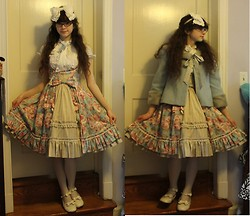 Kattoo King - Rococo Soul Headbow, Bodyline Bow Tie Blouse, R Series Underbust Jsk, Bodyline Shoes, Thrifted Jacket - Remember When