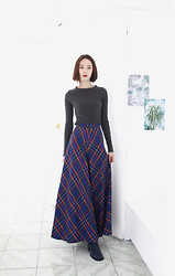 Cherry L - Fashion To Any Scottish Maxi Skirt, Forever 21 Boots - Tartan Check