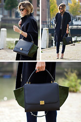 Christine R. - Cos Coat, Citizens Of Humanity Jeans, Karen Walker Sunglasses, Céline Trapeze Bag - Céline Trapeze