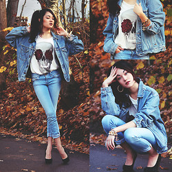 Alessandra Kamaile - Wrangler Vintage Oversized Jeans Jacket, Hips And Hair Skull Rose Tank, River Island Jeans, Buffalo Heels - #denim (HELP ME WIN THE STYLIGHT CONTEST!)