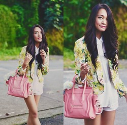 Kristine G - Romwe Floral Blazer, Oasap Tote - Leave some flowers for when I wake