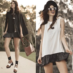 Elle-May Leckenby - Sleeveless Loose Pleated Fringe Skirt, Quay Eyewear Feur Sunglasses - We're going out