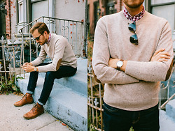 Stay Classic - American Eagle Jeans, J.Crew Factory Sweater, Ray Ban Clubmaster, Asos Grandad Watch - October 27, 2013
