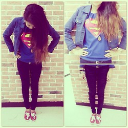 Diana Del Fuerte Marcos - Penshoppe Floral Printed Skinny Jeans, Superman Sleeveless Shirt, Penshoppe Navy Blue Jean Jacket, Keds Red - Your Ordinary Superwoman