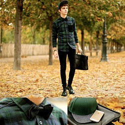 "Matthias C. - Menlook Knitted Bowtie, H&M Cap, Longchamp Suitcase, Skinny Jeans, Choies Shirt, Church's Shoes - ""Baucis"""