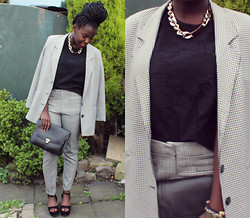 Grandy & Grats K. - Thrifted Oversized Plaid Jacket, Select Plaid Trousers, Ebay Gold Id Chain Necklace, Ebay Suede Flatforms - Oh my Plaid suit