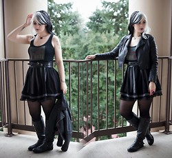 Molly McIsaac - Her Universe Darth Vader Dress, Layered Belt, Steve Madden Tall Boots, Love Culture Faux Leather Jacket - Lady Vader
