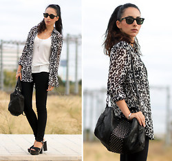 WOWS . - Sheinside Shirt - ANIMAL PRINT IN BLACK & WHITE