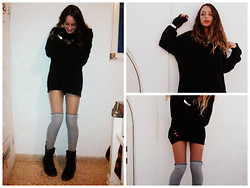 S.t.e.f.f.i.e - H&M Overknee Socks, Romwe Necklace, Dr. Martens Doc Black Boots, Daddy's Sweater - Daddy's sweater