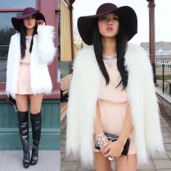 Jeannie Y - Topshop Romper, Topshop Necklace, American Apparel Floppy Hat, B2 Knee High Boots - Like a boss