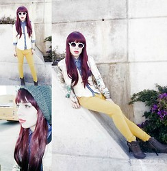 Aria J Blessing - Bellisima Brown Leather Heels, Quarry Yellow Skinny Jeans, Bershka Oriental Printed Jacket, La Festa Nylon Shirt, Quarry Circular Sunglasses, Knitted Hat, Ebay Wig, Bershka Metal/Leather Bracelets - R.e.D.