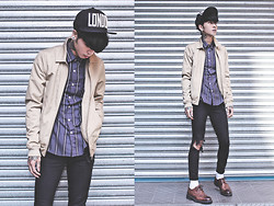 IVAN Chang - Tastemaker 達新美 London Hat, Asos Harrington Jackets, Tastemaker 達新美 Purple Shirt Ruled, Topshop Black Skinny, While Oxford Shoes - 291013 TODAY STYLE