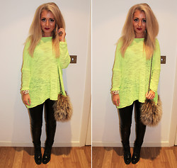 Lydia Jones - Zara Jumper, River Island Leather Trousers, River Island Bag, Zara Boots, Marc By Jacobs Bracelet - Highlighter Yellow