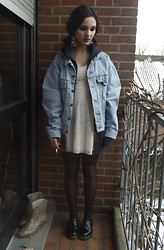 Poppy Lee Jones - Accessorize Earrings, Sweat Jacket, Levi's® Denim Jacket, H&M White Lace Dress, Stockings, Dr. Martens Shoes -  miss androgyny, miss don't care what i've done to me