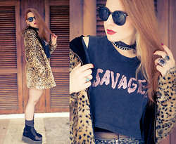 Talitah Sampaio - Choies Jacket, Chic Wish Sunnies, Factoria Cropped Tee, Elephant Rings - Savage or the best jacket ever!