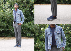 Roderick Hunt - H&M Denim Jacket, Gap Essential Tee, Nike Solarsoft Mocassin Woven, H&M Suit Pants, Timex Weekender - Casual Denim + Slacks Uniform