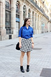 Adela S. - Made By Myself Windowpane Skirt - Windowpane skirt & blue shirt