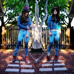 Faye Danielle - Forever 21 Felt Fedora, Forever 21 Teal Cable Knit Sweater, Ombre Colored Pants, Forever 21 Oxblood Wedge Booties - One with Nature