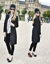 Jessica C. - Topshop Hat, Dolce & Gabbana Shirt, H&M Trench - Tulle Beanie