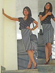 Ritika Khanna - Crop Top, Monochrome Skirt - Polka&Monochrome