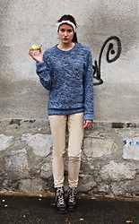 Lenie L - Super Sexy Pear (Yum), Bandana, My Boyfriend's Blue Pullover, Beige Pants, Dark Brown Leather Boots - Peary