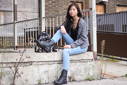 Sabrina Kwan - Combat Boots, Denim Jeans, Bomber Jacket, Leather Peplum Top - Abandoned