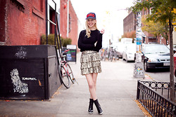 Cocorosa . - Forever 21 Nerd Cap, Iris&Ink Cashmere Sweater, Alice And Olivia Sequined Skirt, Choies Lace Up Boots - N.E.R.D